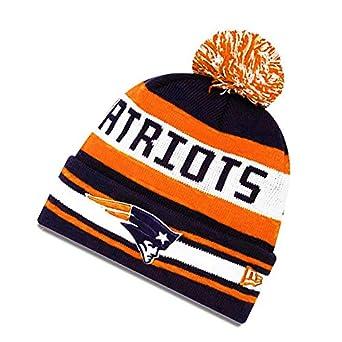 6c6df36796b37 New Era New England Patriots Jake Knit Beanie Pom Hat - Black Orange   Amazon.co.uk  Clothing