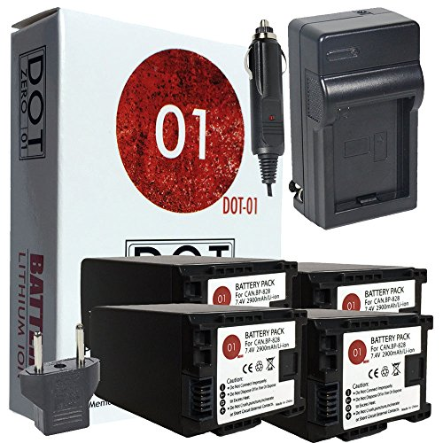 DOT-01 4x Brand Canon XA11 Batteries and Charger for Canon XA11 Professional Camcorder and Canon XA11 Battery and Charger Bundle for Canon BP828 BP-828 by DOT-01