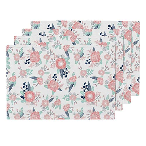Pastel Posy 4pc Organic Cotton Sateen Cloth Placemat Set - Petals Leaves Mint Florals Flower Nursery Blossom Blooming Decorative Flowery Cluster by Charlottewinter (Set of 4) 13 x 19in