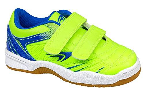 gibra Kinder Sportschuhe für Die Turnhalle, mit Klettverschluss, Neongrün/Blau, Gr. 25-36 neongrün/blau