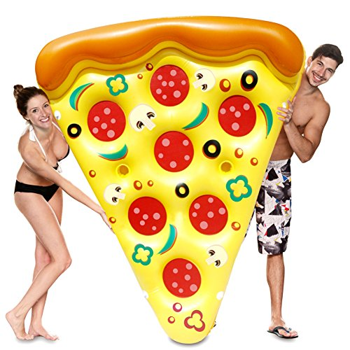 JOYIN Giant Inflatable Pizza Slice Pool Float, Fun Pool Floaties, Swim Party Toy, Summer Pool Raft (1 Pack), Extra Large with Cup (Fun Pool)