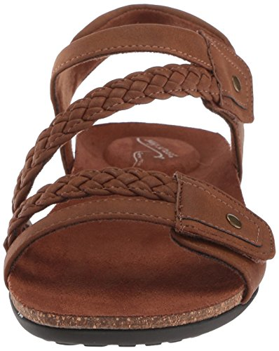 Easy Street Womens Zone Flat Sandal Dark Tan