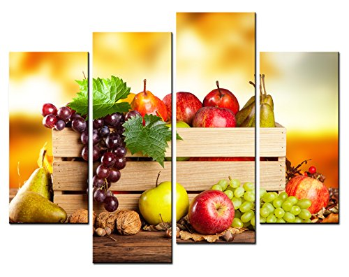 SmartWallArt - Food Paintings Wall Art a Wooden Basket of Fruit and Nut 4 Pieces Picture Print on Canvas for Modern Home Decoration