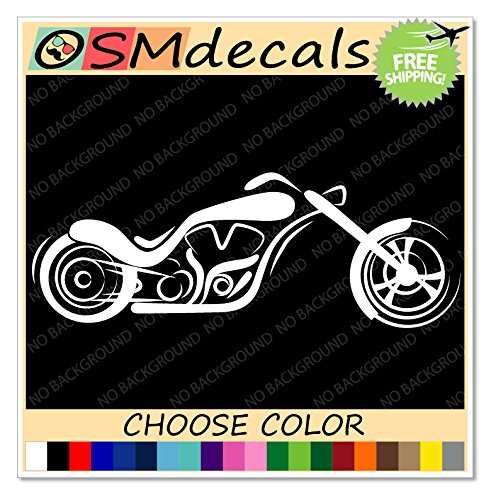 OSMdecals - White Chopper Rider Harley Motorcycle Decal Sticker - JDM Car Truck Window Laptop Suitcase Kitchen Wall Home Decor - Choose Color (Decal Chopper)