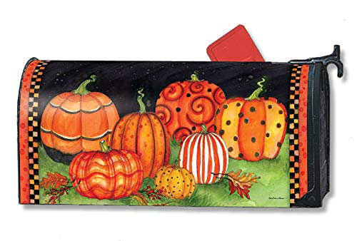 (Studio M Painted Pumpkins Decorative Halloween MailWrap, The Original Magnetic Mailbox Cover, Made in USA, Superior Weather Durability, Standard Size fits 6.5W x 19L Inch)