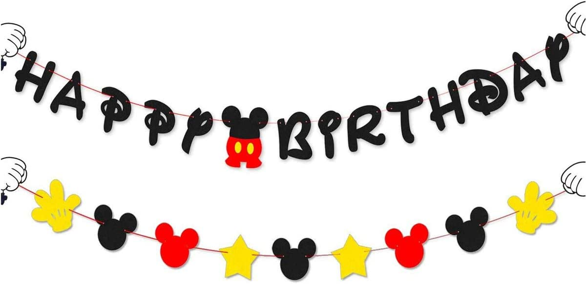 MINGXIN Mickey Mouse Party Supplies Do it all without DIY Mickey Happy Birthday Banner Flags Garland and Welcome Hanger Door Sign for Baby Kids Shower Mickey Mouse Favors Theme Decoration
