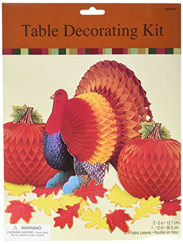 Colors of Autumn Thanksgiving Party Turkey and Pumpkin Honeycomb Centerpiece Table Decoration, Paper, Pack of 15 - Turkey Pumpkin Kit
