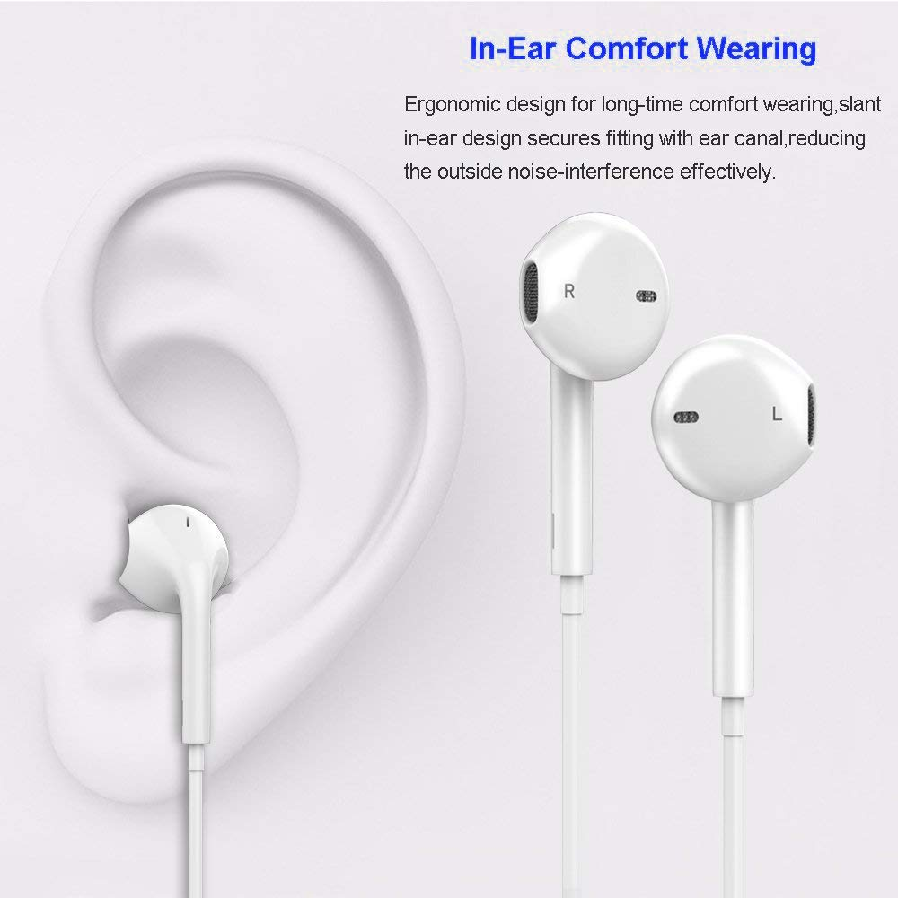 Earbuds Microphone Earphones Stereo Headphones Noise Isolating Headset Compatible with iPhone Xs//XS Max//XR//X//8//8 Plus//7//7 Plus Headphones