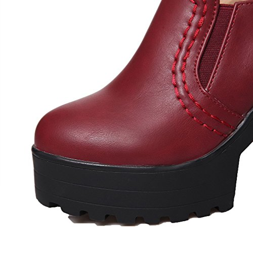Soild High On Toe Closed VogueZone009 Heels Pumps Damen Rot Pull TxqwYtPHn5