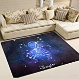 Constellation Zodiac Sign Scorpio Playmat Floor Mat For Dining Room Living Room Bedroom, 7'x5' and 5'3''x4'