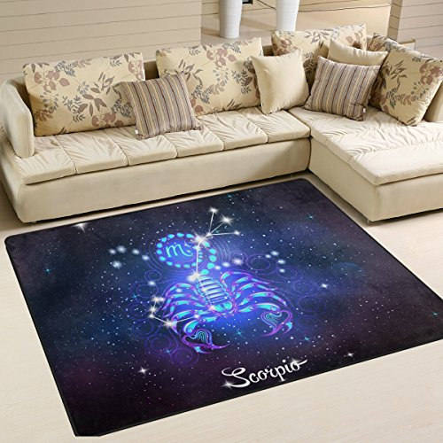 Constellation Zodiac Sign Scorpio Area Rug Carpet Floor Mat For Dining Room Living Room Bedroom, 7'x5' and 5'3