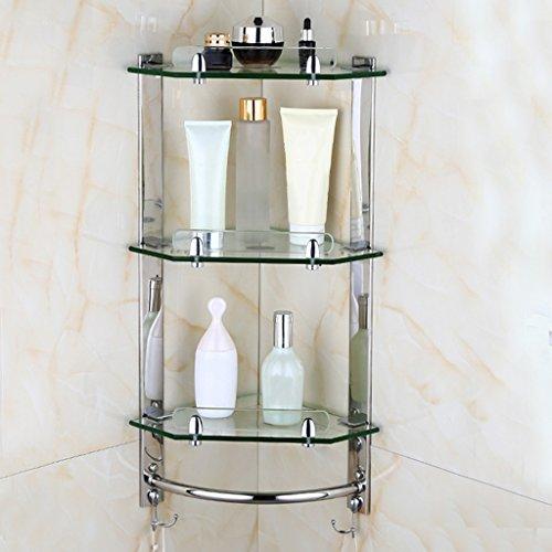 takestop/® Corner Shelf 2 Shelves ESY/_52910 in Glass Shower Storage Rack Bathroom Wall Wall Shelf Triangular Accessories with Screws