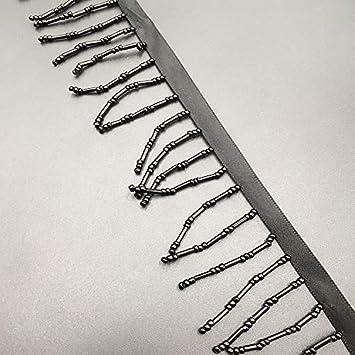 Bohemianischer Regenbogen-Boho-Perlen Spitzenbord/üre 5-7.5cm 3Rows Black Satinband 1,7 m f/ür Handarbeit//Kost/üm//Heimwerker Fransen