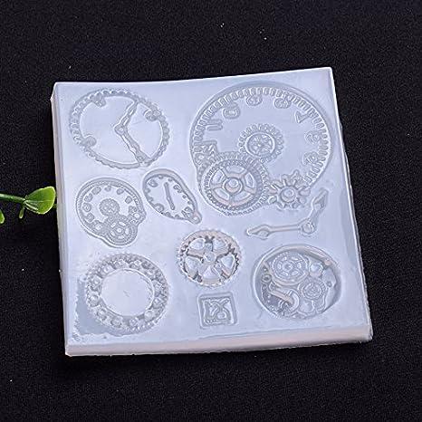 WYD - Molde de resina de silicona para relojes mecánicos en 3D, con cuentas de cristal para hacer manualidades, para repostería, fondant de chocolate: ...