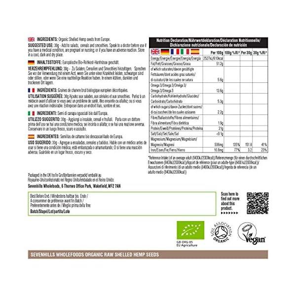 Sevenhills Wholefoods Organic Shelled Hemp Seeds 1kg