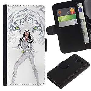 KLONGSHOP // Tirón de la caja Cartera de cuero con ranuras para tarjetas - Tigre blanco Princesa - Samsung Galaxy S3 III I9300 //