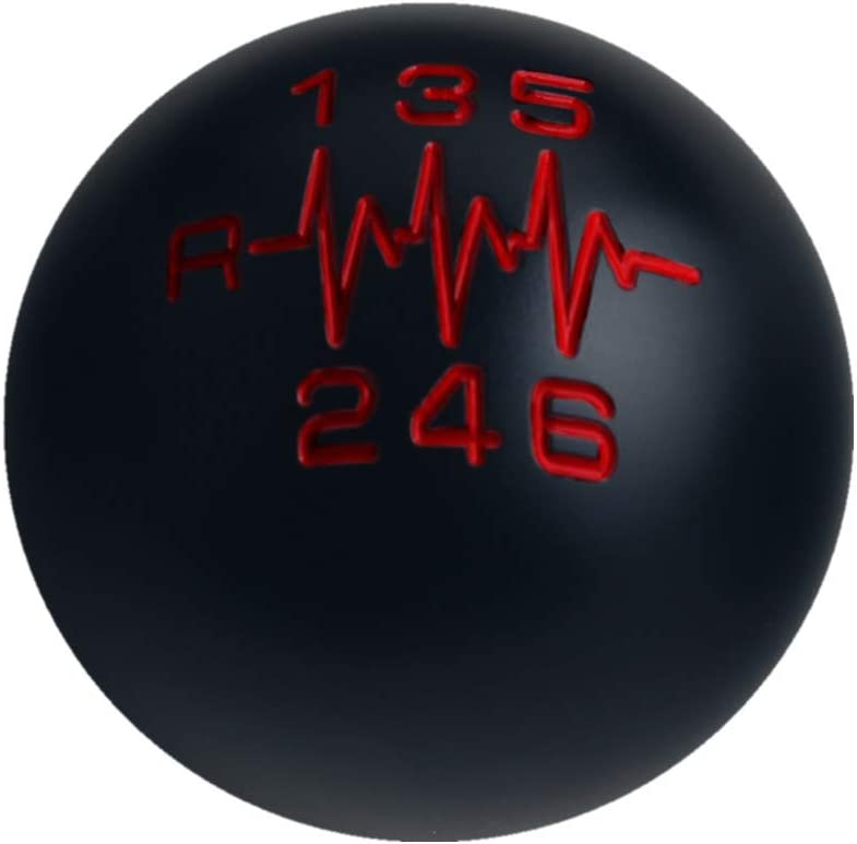 DEWHEL Black//Red Inlay Sphere Manual Shift Knob Short Throw Shifter 6 Speed Heartbeat M10x1.5 M10x1.25 M8x1.25 M12x1.25 Reverse Left