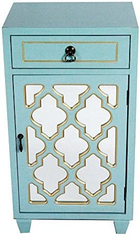 Heather Ann Creations Standing Single Drawer Distressed Storage Cabinet, 30 x 18 , Aqua