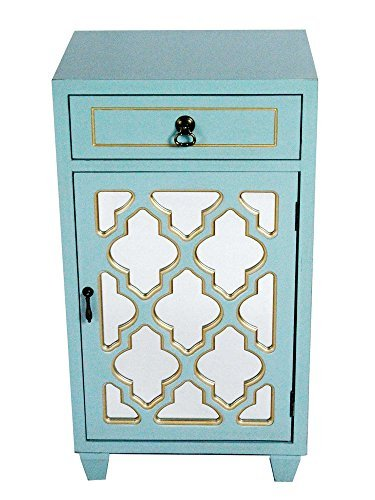 Heather Ann Creations Standing Single Drawer Distressed Storage Cabinet with Multi Clover Mirror Window Inserts, 30'' x 18'', Aqua by Heather Ann Creations (Image #2)
