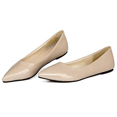 TAOFFEN Women Casual Flat Shoes Fashion Lady Sexy Candy Colors Pointed Toe Footwear (9.5 B(M) US, Ivory) | Flats