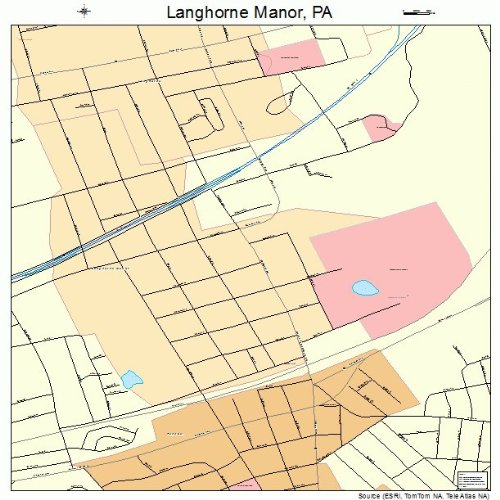 Large Street & Road Map of Langhorne Manor, Pennsylvania PA - Printed poster size wall atlas of your - Langhorne Map Pa