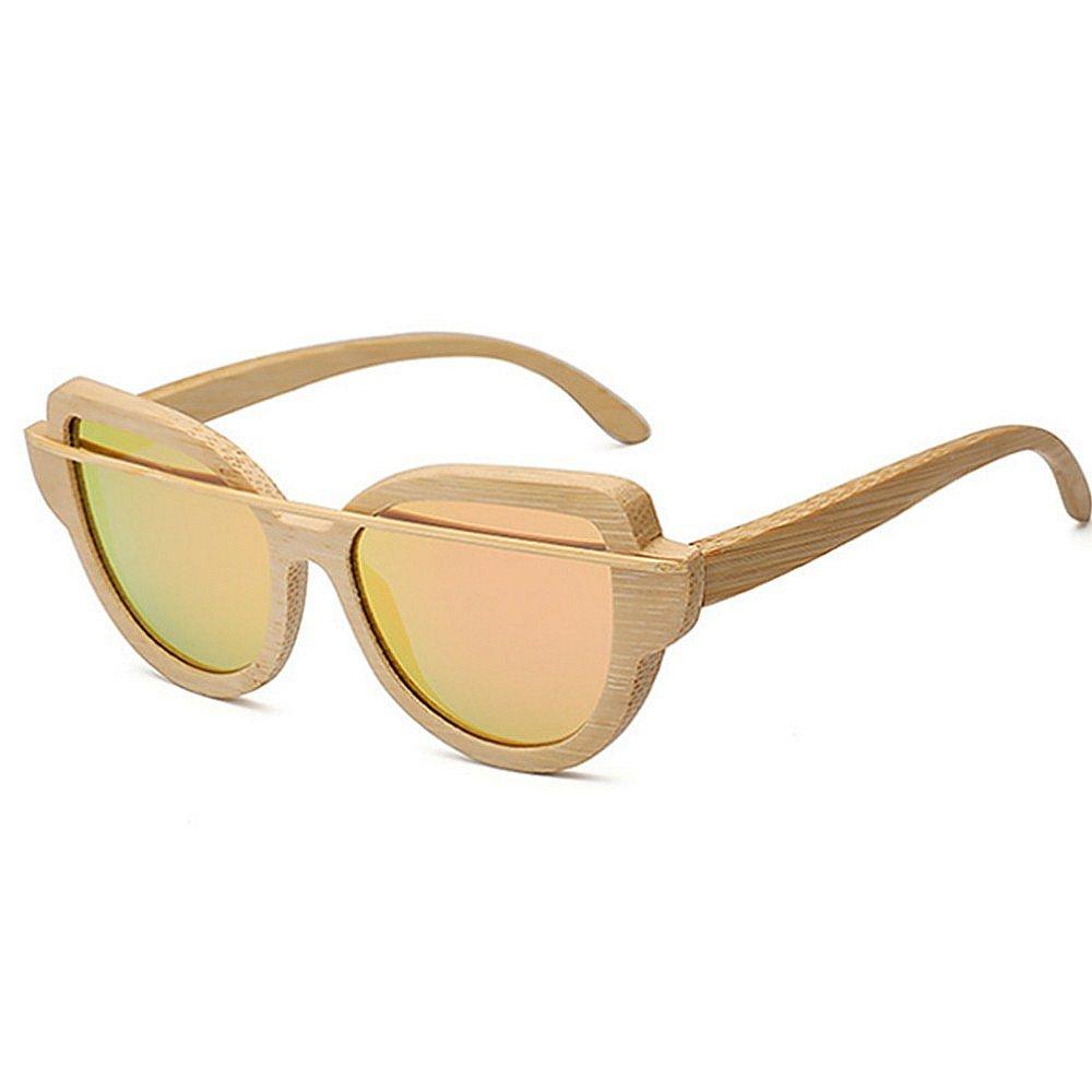 PINK STEVAP Simple Wooden Bamboo Frame Polarized Sunglasses for Women Men Unisex Cat Eyes Sunglasses colorful Lens UV Predection Sunglasses Driving Sunglasses Beach Sunglasses