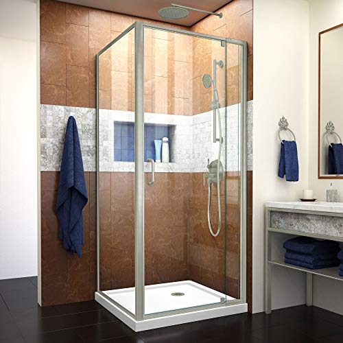 (Dreamline DL-6714-04CL Flex Shower Enclosure and Base, 32 in. D x 32 in. W x 74.75 in. H, Brushed Nickel)