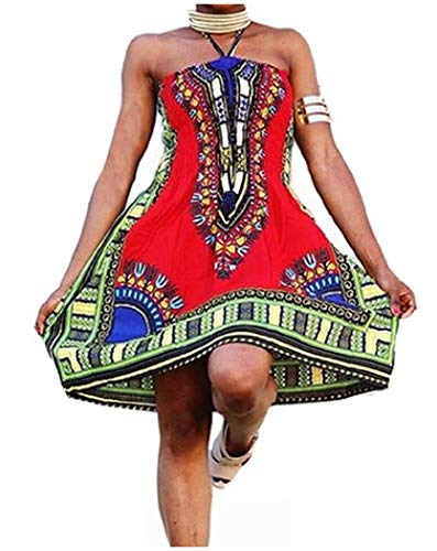 - Abetteric Womens Dashiki Print Chest Wrapped Ethnic Style Totems Printing African Dress AS1 M