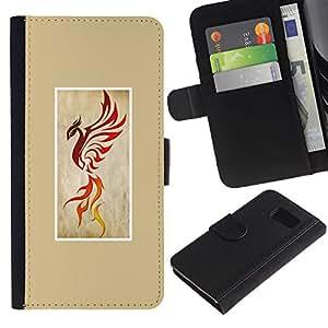 LASTONE PHONE CASE / Lujo Billetera de Cuero Caso del tirón Titular de la tarjeta Flip Carcasa Funda para Samsung Galaxy S6 SM-G920 / phoenix fire bird dragon yellow poster