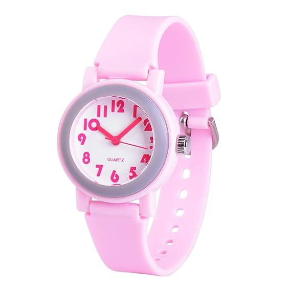 WOLFTEETH Analog Grade Escuela Niñas Niños Reloj con Segunda Mano Lindo Pequeño Rostro Blanco Dial Resistente Al Agua Niño Rosa 305801: Amazon.es: Relojes