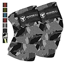 Knee Wraps (1 Pair) - 80 Elastic Support & Compression - for Weightlifting, Powerlifting, Fitness, Crossfit WODs & Gym Workout - Knee Straps for Squats