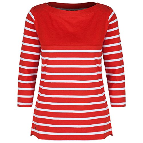 Regatta Great Outdoors - Camiseta de manga 3/4 a rayas modelo Preciosa para mujer Molten