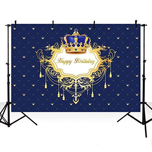 - MEHOFOTO Photo Background Blue Little Prince Boy Happy Birthday Royal Celebration Backdrops for Photography 7x5ft
