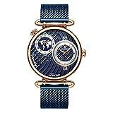 Wyenliz Reloj de hombre original de moda de personalidad negocio de ocio a Estudiante Correa de acero inoxidable prueba de agua reloj de regalo de cuarzo analógico Azul Unisex