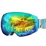 OutdoorMaster Ski Goggles PRO - Frameless, Interchangeable Lens Snow Goggles for Men & Women - 100% UV Protection ( Light Blue Frame VLT 13% Grey Len with Full REVO Gold and Free Protective Case )