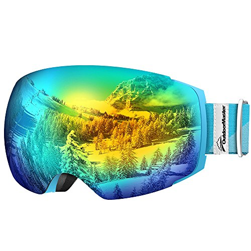 - OutdoorMaster Ski Goggles PRO - Frameless, Interchangeable Lens 100% UV400 Protection Snow Goggles for Men & Women ( Light Blue Frame VLT 13% Grey Lens with Full REVO Gold and Free Protective Case )