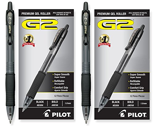 Pilot G2 Retractable Premium Gel Ink Roller Ball Pens, Bold Pt, 24 Pack, Black