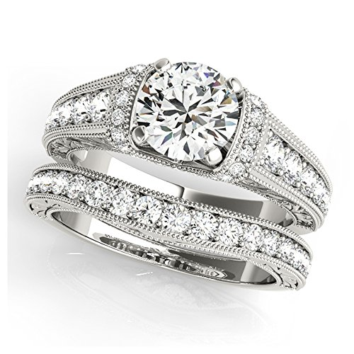 14K White Gold Unique Wedding Diamond Bridal Set Style MT50802
