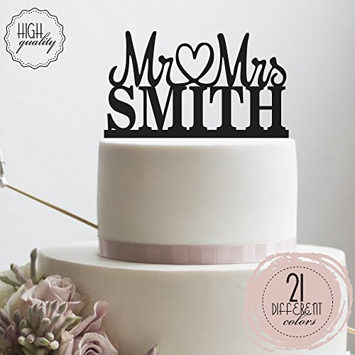 Mr Heart Mrs Wedding Cake Topper Personalized Mr Mrs Cake Topper Customized Last Name Cake Topper | Solid Color Cake Toppers