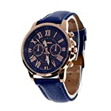 YANG-YI New Fashion Geneva Roman Numerals Faux Leather Analog Round Quartz Wrist Watch Women (Dark Blue)