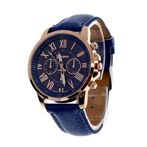 YANG-YI New Fashion Geneva Roman Numerals Faux Leather Analog Round Quartz Wrist Watch Women (Dark (Geneve Movement)