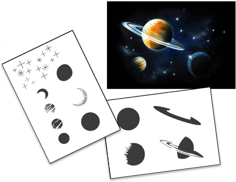 Step by Step Airbrush Schablone Planeten Sterne Galaxie AS-138