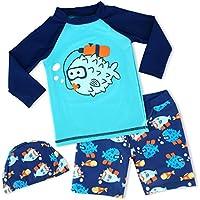 Boys Two Piece Rash Guard Swimsuits Kids Short Sleeve Sunsuit Swimwear Sets UPF 50+