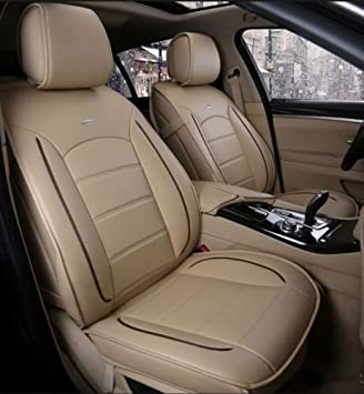 Amooca Luxurious Airbag Compatible Universal Full Set Needlework Quality Leather Dacron Fabric Front Rear Car Seat Cushion Cover For Accent Focus Jetta Tiguan Black 10pcs