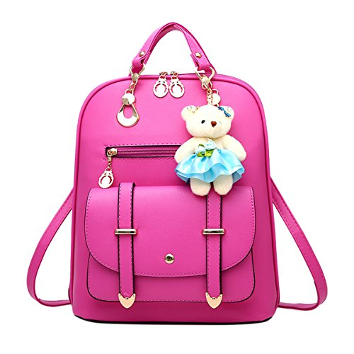 Faux Rose Cute Leather Women's School Backpack ABage Backpack Convertible Travel Purse xaAvn