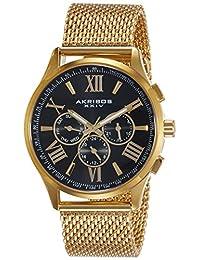 Akribos XXIV Men's AK844YGB Round Black Radiant Sunburst Dial Two Time Zone Quartz Bracelet Watch