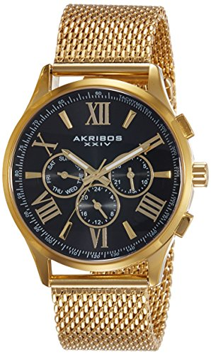 Akribos XXIV Men's AK844YGB  Round Black Radiant Sunburst Dial Two Time Zone Quartz Bracelet Watch