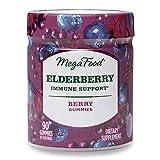 MegaFood, Elderberry Immune Support Gummies, Berry Soft Chew Supplement, Gluten Free, Vegan, 90 Gummies (45 Servings)