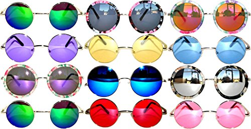 Retro Round Circle Colored Vintage Tint Sunglasses Metal Frame Spring hinge OWL (12p_Mix_43mm_56mm_60mm, PC - Sunglasses Wholesale La