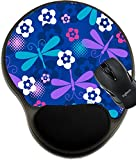MSD Natural Rubber Mousepad Wrist Protected Mouse Pads/Mat with Wrist Support Design: 3668444 Dragonfly Seamless Repeat Pattern Vector Illustration